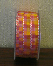 RIBBON - Checked Ribbon in Pink, Gold, Lilac and Edged to Finish - 5mtr