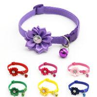 Adjustable Pet Rhinestone Flower Collar Puppy Dog Bell Buckle Collar Necklace