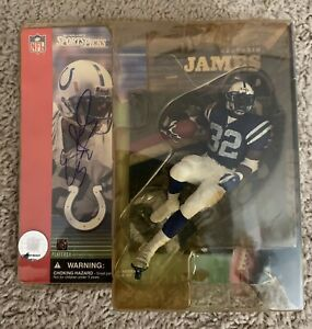Edgerrin James Auto Signed Colts Action Figure Variant Blue Jersey McFarland