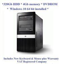 Windows 10 Cheap Fast HP Dual Core 2.6Ghz 320Gb 4Gb DVD Tower Computer PC