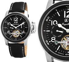 Automatik Herren Armbanduhr Schwarz/Silber Lederarmband ENGELHARDT 309 UVP