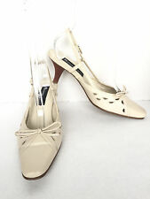Etienne Aigner Women's Leather Beige Slingback Kitten Heel Pumps Size US 7.5 M