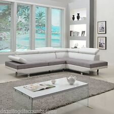 2PC Sectional Sofa Modern White/Grey 2-Tone Microfiber Bonded Leather