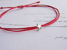 tiny silver star bright red cotton cord string adjustable friendship bracelet