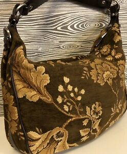 ~Talbots~ Romantic Fall Floral Tapestry +Braided Strap Shoulder Bag Hobo Handbag