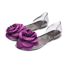 Womens Flat Casual Jelly Flowers Sandals Slip On Peep Toe Summer Beach Shoes