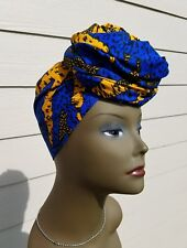 Blue And Yellow Headwrap; African Headwrap; African Clothing; African Fabric