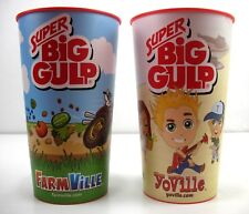 FaceBook - Farmville Zynga - SUPER BIG GULP Promotional Plastic Cups Lot of (2)