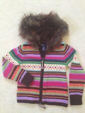 GAP KIDS Girls Fair Isle Himalaya Long Sleeve Faux Fur Hooded SWEATER Size 5