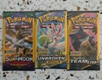 3x Pokemon Sun & Moon - Team Up, Unbroken & Guardian 3 card booster packs *NEW*