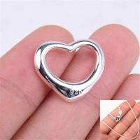 Women's 925 Sterling Silver Tarnish-Free 20mm OPEN Heart Pendant+ Necklace Chain