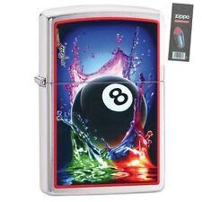 Zippo 29295 Mazzi 8 Ball Splash Chrome Finish Full Size Lighter + FLINT PACK