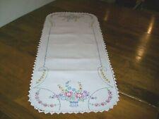 Vintage Embroidered Dresser Scarf/Table Runner Crocheted Edge Floral Basket (#5)