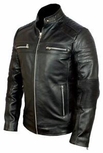 New Mens Cafe Racer Jacket Biker Motorcycle  Real Black Leather Jacket Vintage