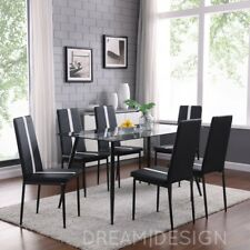 DESIGNER Dining Set With 6 Black Faux Leather Chairs Glass Metal Legs