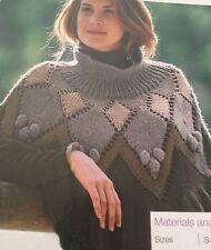 Ladies Argyll Style Poncho ( S, M, L, XL)  Knitting Pattern