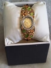 *nEW oLD sTOCK* ALLURING Women's CUFF / BANGLE Watch / MULTI-COLOR CRYSTAL BAND