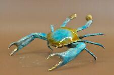 Multi Color 100% Real Bronze Crab Sculpture Ocean Sea Marine Figurine Decor Sale