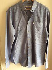 Ben Sherman Mens Blue Patterned Long Sleeve 100% Cotton Shirt XXL