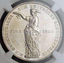 "1862, Frankfurt (Free City). Silver ""Shooting Festival"" Thaler Coin. NGC MS-62!"