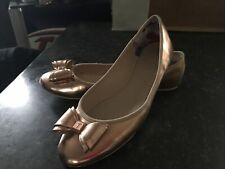Ted Baker Women's Rose Gold Ballerina Shoes Bow Round Toe Floral Size UK 7 EU 40