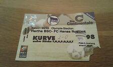 Ticket Hertha BSC Berlin - FC Hansa Rostock , Sammelkarte,  Ultras, FCH