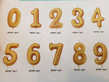 Gold Glitter Number Pick Candles - 7cm Birthday Cake Topper Decoration Age 0-80