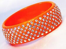 Orange Colored Summer Bangle Bracelet Wide Lucite with Clear Crystals