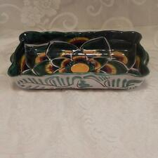 Mexican Pottery Serving Dish Green Yellow Brown Black With Handles
