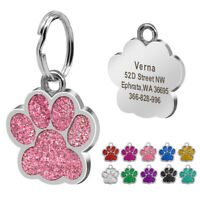 PAW GLITTER Personalised Pet Puppy Dog ID Tags+ Ring Name Address Free Engraved