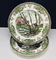 Johnson Bros Friendly Village Salad/Desert Plates WILLOW BY THE BROOK - Lot of 4