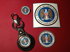 NATIONAL SECURITY AGENCY:  LEATHER KEY RING, BADGE, MAGNETIC SIGN  &  STICKER