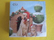 20 Servietten Katze Hund Hundehütte Weihnachten Hunde Katzen Müzen Schnee 1 Pack