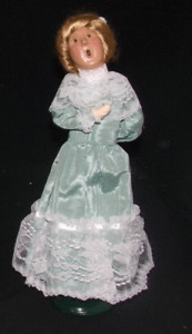 Vintage 1999 Byers Choice Carolers Victorian Woman In Turquoise Dress Display