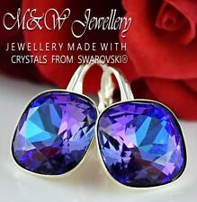 925 Silver Earrings Square Fancy Stone HELIOTROPE 12mm Crystals From Swarovski®