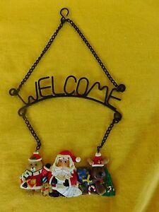 Christmas SANTA - WELCOME Door or Wall Hanger