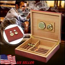 Cigar Humidor Humidifier Cedar Wooden Lined Storage Case Box Hygrometer