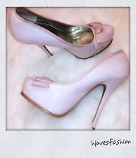 🎀NEWLOOK Pale Pink Patent Nude Platform Ted Bow Heels Stiletto UK 6 EU 39🎀