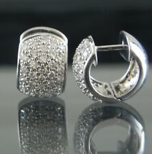 Huggie 1.50 Carat Paved Diamond 18k White Gold Pierced Earrings