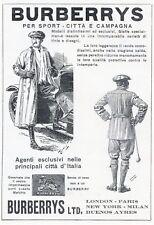 PUBBLICITA' 1926 IMPERMEABILI BURBERRY'S SPORT SPOLVERINO AUTO CAMPAGNA MULLER