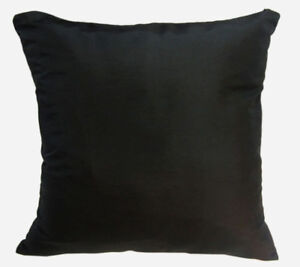 Ja134a 2 Pcs x Black Poly Taffeta Plain Cushion Cover/Pillow Case*Custom Size