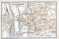 51 Chalons-en-Champagne Marne 1899 pt. plan ville orig. + guide angl. (4 p.)