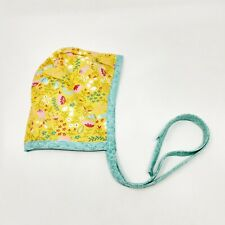 Handmade Baby Bonnet 3-6 Month Yellow Blue Floral Baby Girl Hat Summer Spring