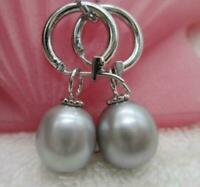 AAA 11-12mm south sea gray natural  pearl earring 14k white gold