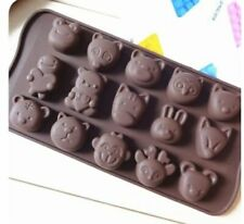 15 Animals Tiger Monkey Cat Silicone Mould Chocolate Fondant Jelly Ice Cube Mold