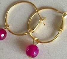 Gold Lever Back Hoops & Natural Rose Agate Faceted Bead Dangle Earrings.