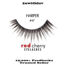 RED CHERRY 100% HUMAN HAIR BLACK FALSE EYE LASHES #47 BRAND NEW