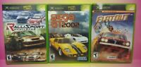 3 Game Racing Lot Original Microsoft XBOX Flatout Sega GT Ralli Sport Mint Discs