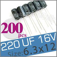 200  220uF 16V Radial Electrolytic Capacitor 6.3 x 12mm