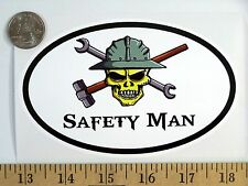 "Safety Man 3 1/2"" x 5"" Oval Euro Bumper Sticker B173"